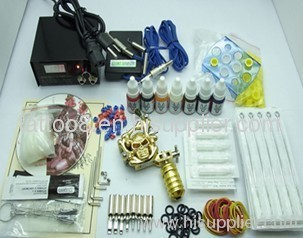 Tattoo Kit 1 Gun Machine With Power Supply Grips Back Stem Tube 7 Color Ink Needles
