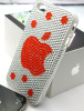 Red apple Acrylic Rhinestone for iphone 4 case,cell phone case cover