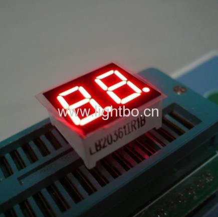 0.36 inches common anode super bright red 2 digit seven segment led displays