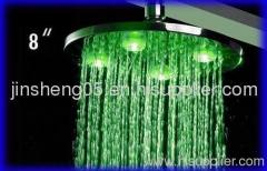 Brass LED Shower Head with Silicon Nozzles for Easy cleaning, Measuring 8 inch