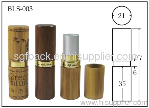 Bamboo lipstick tube container