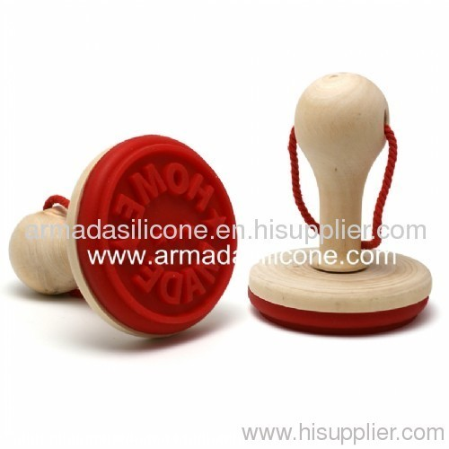popular logo design silicone cookie stamp with plastic handle