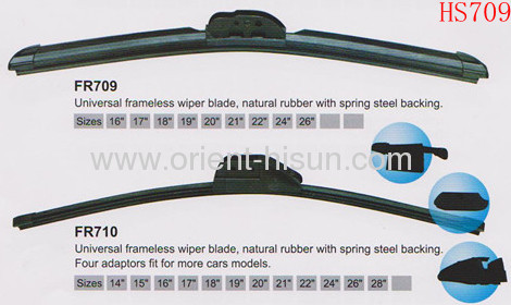 Practical frameless wiper blade with spring steel backing