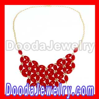 2012 Hot Sale Coral Red Resin Bib Statement Necklace Trend