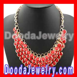 Fashion Coral Multi Layers Chunky Statement Necklace Wedding for women