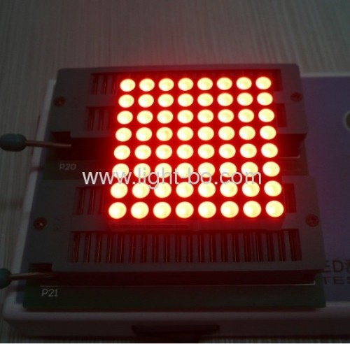 Super bright red 1.5 inches 8 x 8 dot matrix led displays with outer dimensions 38 x 38 mm