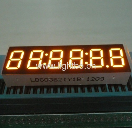 Super bright amber 6 digit 0.36 inch common anode 7 segment led numeric display