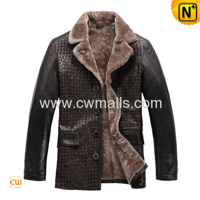 Men's Hand Braided Sheepskin Lamb Fur Lined Coat