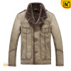 Men Casual Cowhide Leather Fur Lined Jacket Epaulet