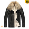 Mens Raccoon Fur Collar Slim Fit Fur Lined Leather Jacket