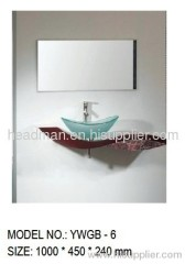 GLASS BASIN WITH WOODEN BRACKET