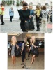 Celebrity Style Studded Bottom Black Duffel Tote Bag Handbag