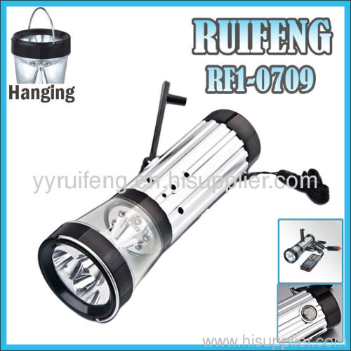 hand crank Alarm flashlight with phone charger and compass best emergency lantern color changing usb led lights