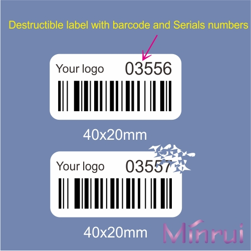 Custom tamper evident destructible barcode labels with sequence numbers
