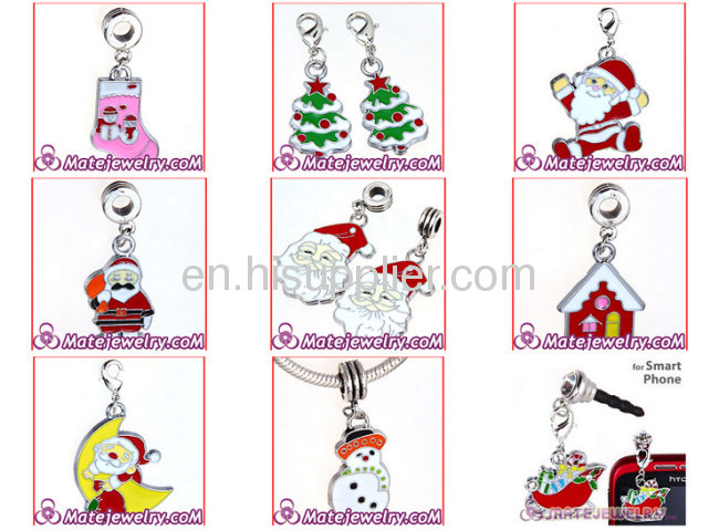Fashion Designer Cheap Enamel european Santa Claus Charms For Jewelry Making