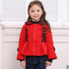 winter clothes red girl checked coat kids top wear