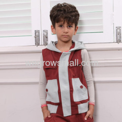timeless kids'clothing sleeveless grey red coat