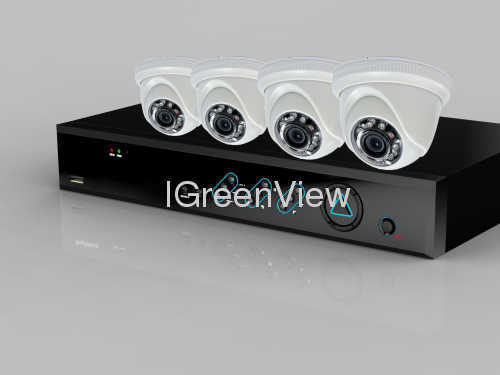 Surveillance Security System 4CH DVR Kit with 4PCS 600tvl IR dome camera