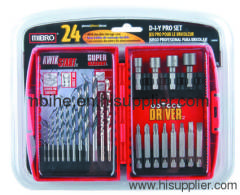 24pc drill and driver bit setplastic box packing