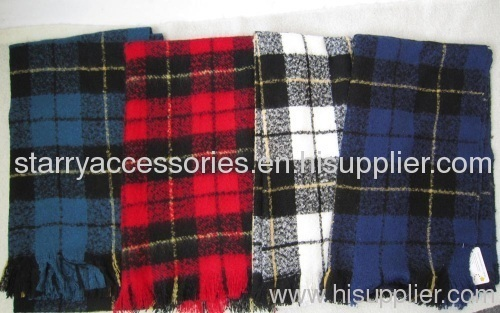 Acrylic check woven scarf for men/women