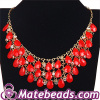 Fashion Multi Layered Red J Crew Style Resin Statement Bib Necklace