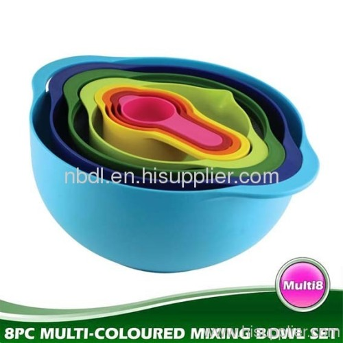 8PC Coloured Mixing Bowl Set