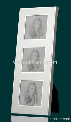three opening alu photo frame with MDF and black velvet back and stand