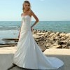 A Line Strapless Satin Beach Wedding Dresses With Beaded Details
