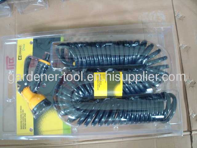 Coil Water Hose With 6-Dial Water Nozzle Set For Garden Irrigation,Car Washing And House Washing