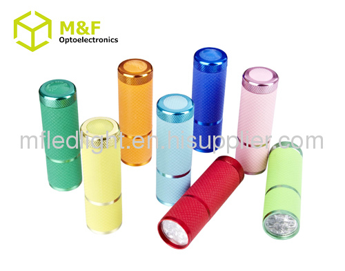 Battery operated 9LED flashlight torch with flourescent rubber coat
