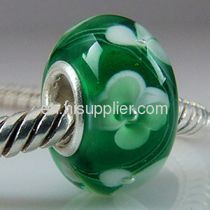 Wholesale New Design silver core european Hearts Glass Beads