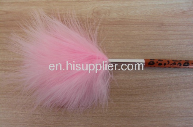 Turkey Leather Powder brush with Leopard handle