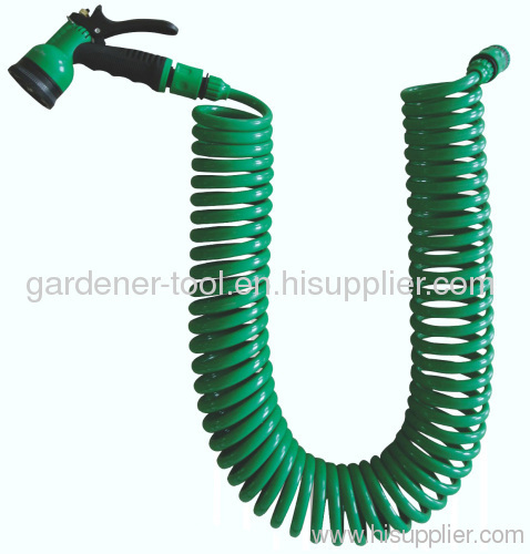 Garden Coil Water Hose With Plastic Water Nozzle Set