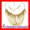Tassel Chain Spike Bib Statement Necklace Earring Gold Necklace Set