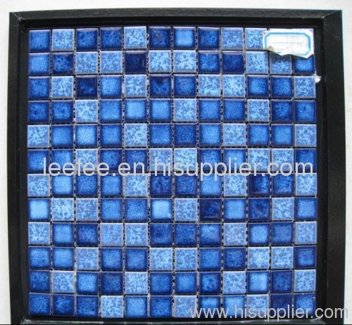 Blue Ceramic Mosaic Tiles for Swimming Pool Decoration