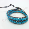 2 circles handmade turquoise chan luu bracelet wholesale from China beads factory