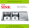 Square bowls kitchen stainless steel sink double bowl with drain board