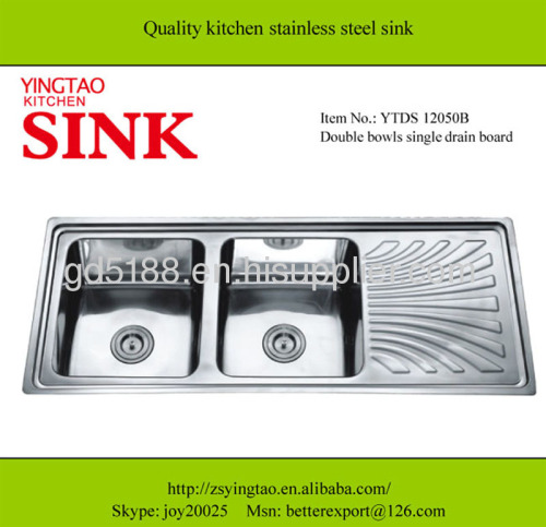 Double bowl single drainer stainless steel sink
