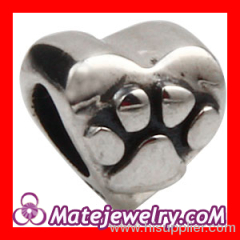 925 Silver european Heart Charm Beads With Cute Dog Paw