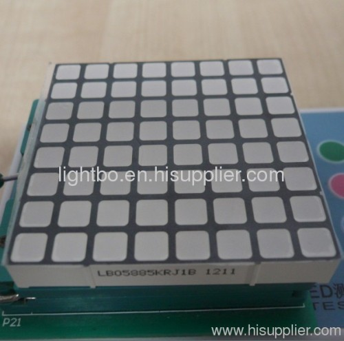 2.4 inch 6mm 8 x 8 Square dot matrix led display with package dimensions 60 x 60 mm,Various clours available