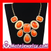 Gold Plated Statement Resin Stone Bib Necklace