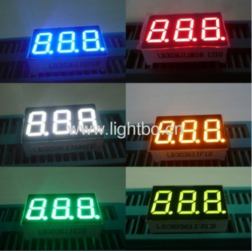 Ultra Blue,White,Green,Red and Amber 3 digit 0.36 inch 7 segment led display used for temperature indicators