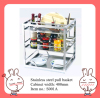 Stainless steel pull out basket with soft closing slides