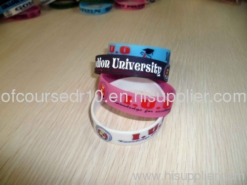 custom wide silicone wristband/bracelet filled in colors golw at night
