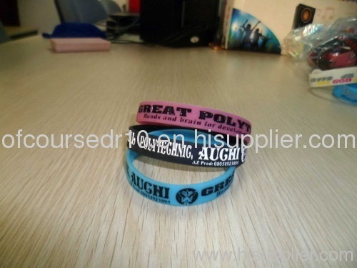 Custom Debossed Silicone bracelet glow at night promotion gift
