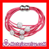Pave Crystal Disco Beads Wrap Leather Bracelet Magnetic Clasp