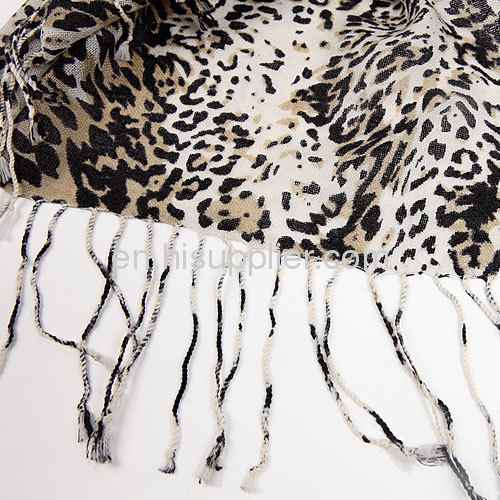 Wholesale Cool Fashion Leopard Print Wool Scarf Wrap Shawl Stole