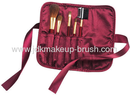Deluxe 5pcs Goat Hair Cosmetic brush kits with silk ribbon