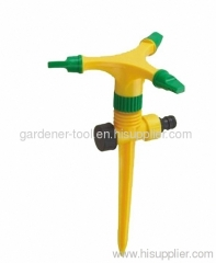 Plastic 3-arm water rotary sprinkler with plastic spike