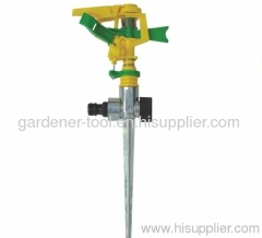 Plastic water impulse sprinkler with metal spike